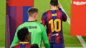 Messi saliendo al Camp Nou