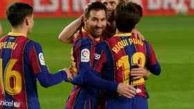 Messi celebra su gol con el Barça