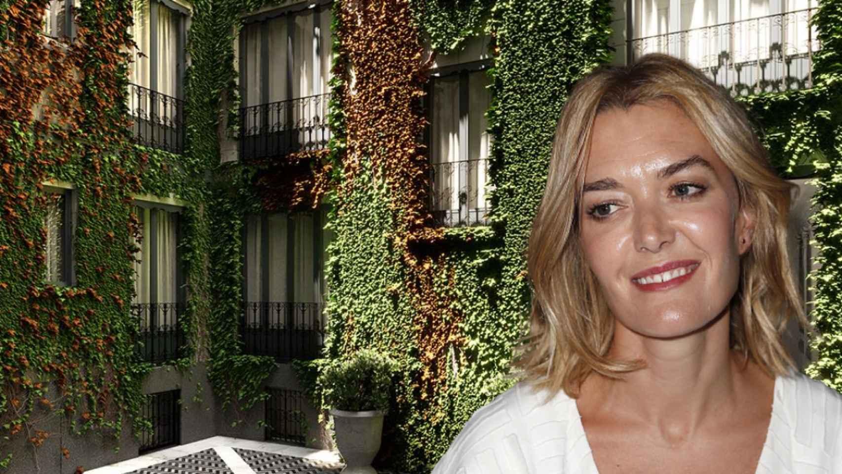Marta Ortega, junto a su nueva propiedad en Madrid, en un fotomontaje de JALEOS.