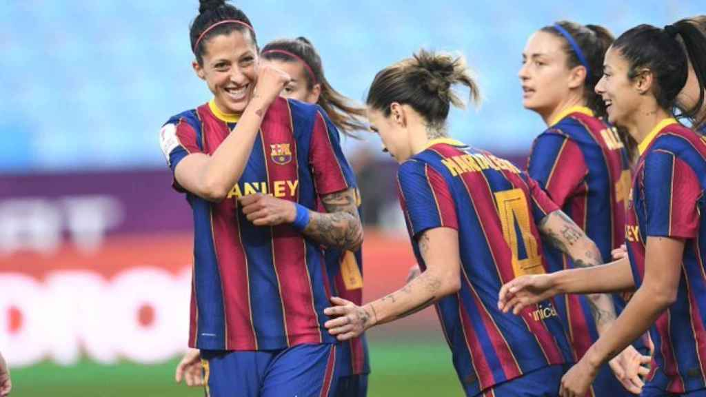 Jenni Hermoso celebra un gol con el FC Barcelona