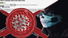 Montaje sobre vacunas contra la Covid-19 en la 'dark web'.