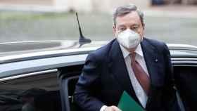 Mario Draghi a su llegada al Quirinale para jurar su cargo ante Sergio Mattarella.
