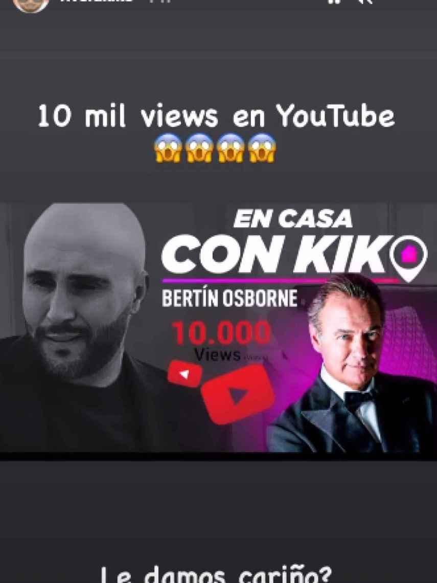 Kiko Rivera ha celebrado el éxito de su entrevista con Bertín Osborne en sus 'stories' de Instagram.
