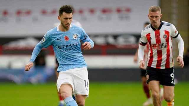 Laporte en un partido de Manchester City