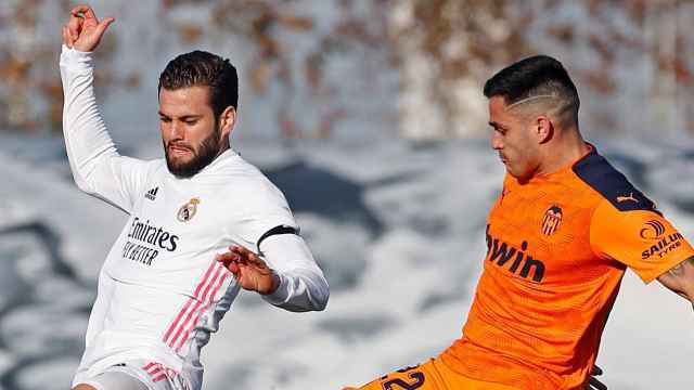 Nacho Fernández, durante el Real Madrid  - Valencia de la jornada 23 de La Liga