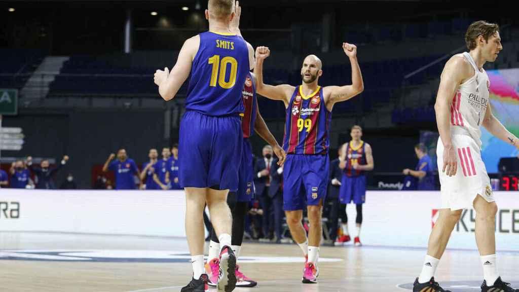 Calathes celebra una canasta del Barça