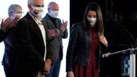 Inés Arrimadas y Carlos Carrizosa, tras analizar los resultados de las elecciones de Cataluña.