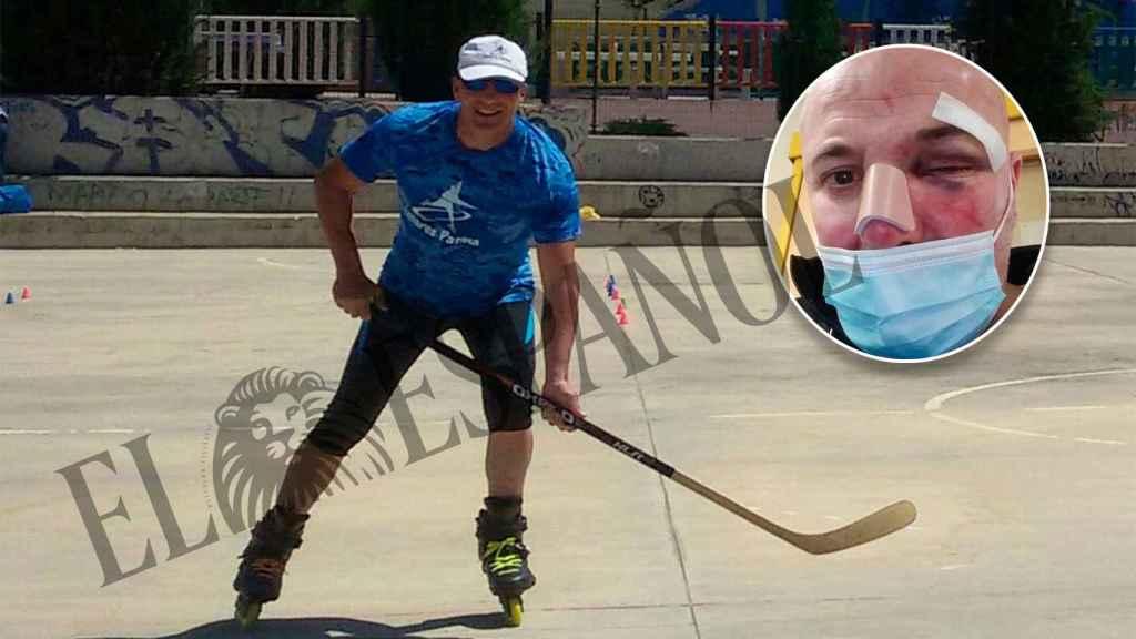 Carlos, patinando con el club Linares Patina.