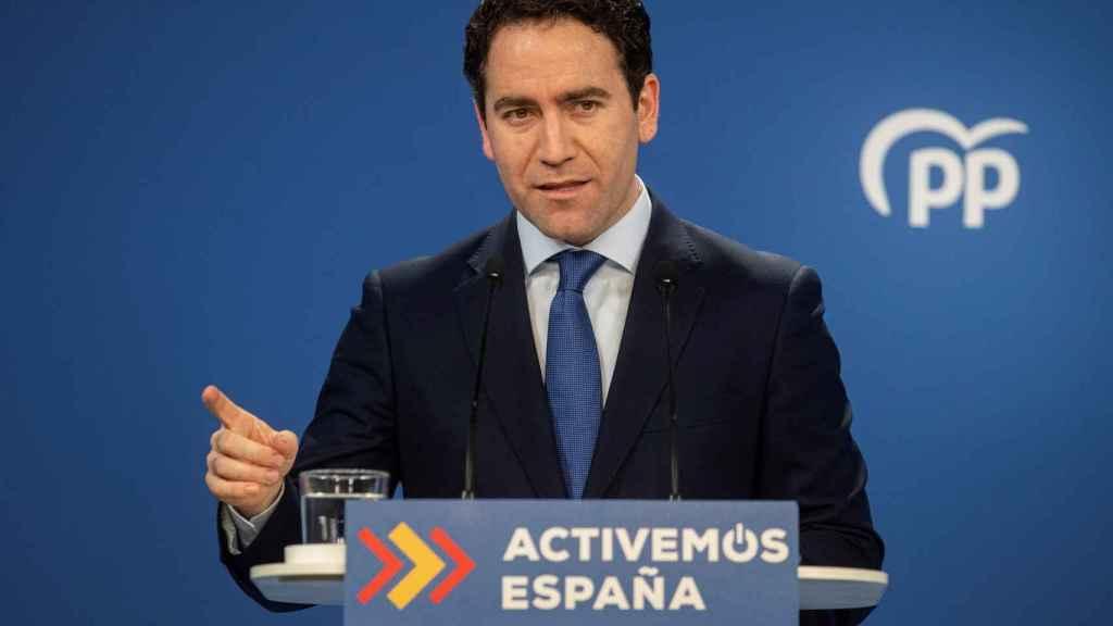 Teodoro García Egea en la sede del PP en Madrid, durante la valoración de los resultados electorales en Cataluña.