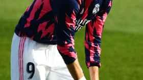 Karim Benzema, en un calentamiento