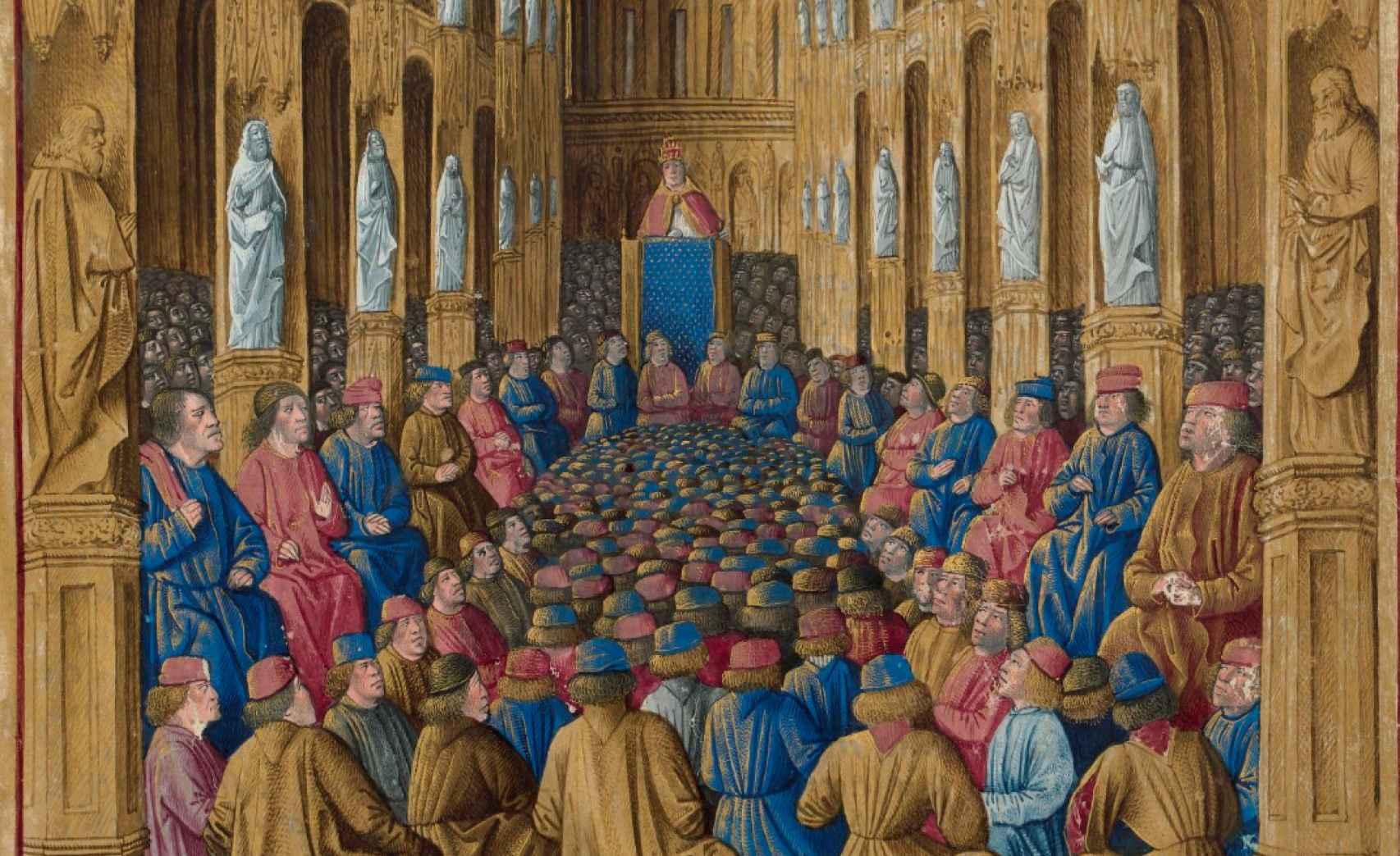 El papa Urbano II en el Concilio de Clermont. Ilustración del 'Livre des Passages d'Outre-mer', de alrededor de 1490.
