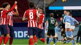 El Atlético de Madrid y el Manchester City en un collage fotográfico