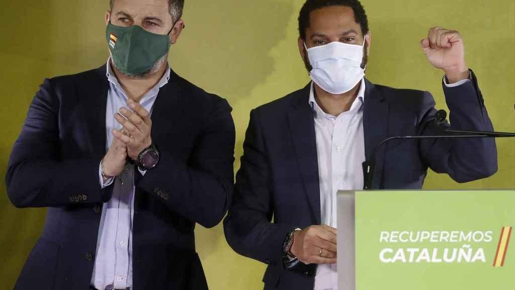 Abascal y Garriga celebrando los resultados de Vox en Cataluña.