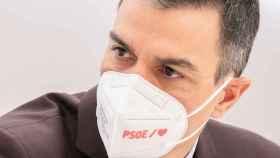 Pedro Sánchez, este lunes en la sede del PSOE en Madrid.