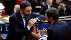 El presidente del PP, Pablo Casado, y el líder de Vox, Santiago Abascal, en el Congreso.