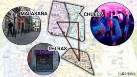 El triángulo de las fiestas ilegales en Madrid.