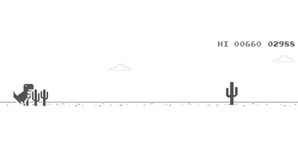 El juego del dinosuario de Chrome, hackeado para ser inmortal