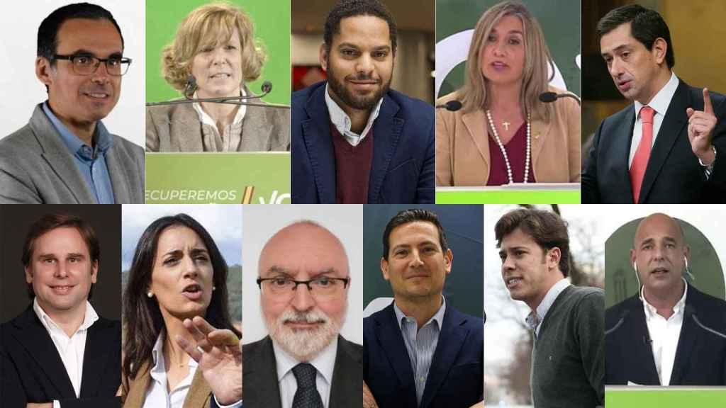 Los 11 diputados de Vox en el Parlament de Cataluña.