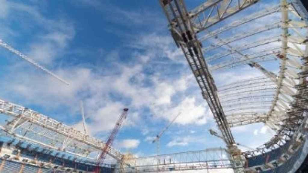 El estado de la nueva cubierta del Estadio Santiago Bernabéu a mediados del mes de febrero