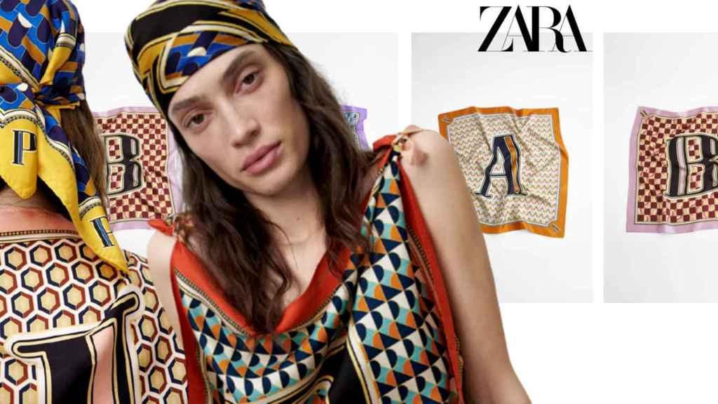 El pañuelo con iniciales de Zara que se va a convertir en el 'must have' de esta temporada.