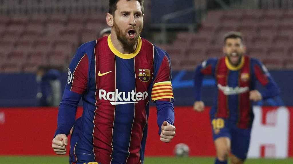 Celebración de Leo Messi ante el PSG
