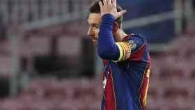 La cara de Leo Messi tras el cuarto del PSG