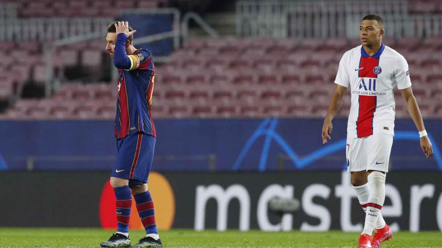 Leo Messi y Kylian Mbappé tras el hat-trick del francés