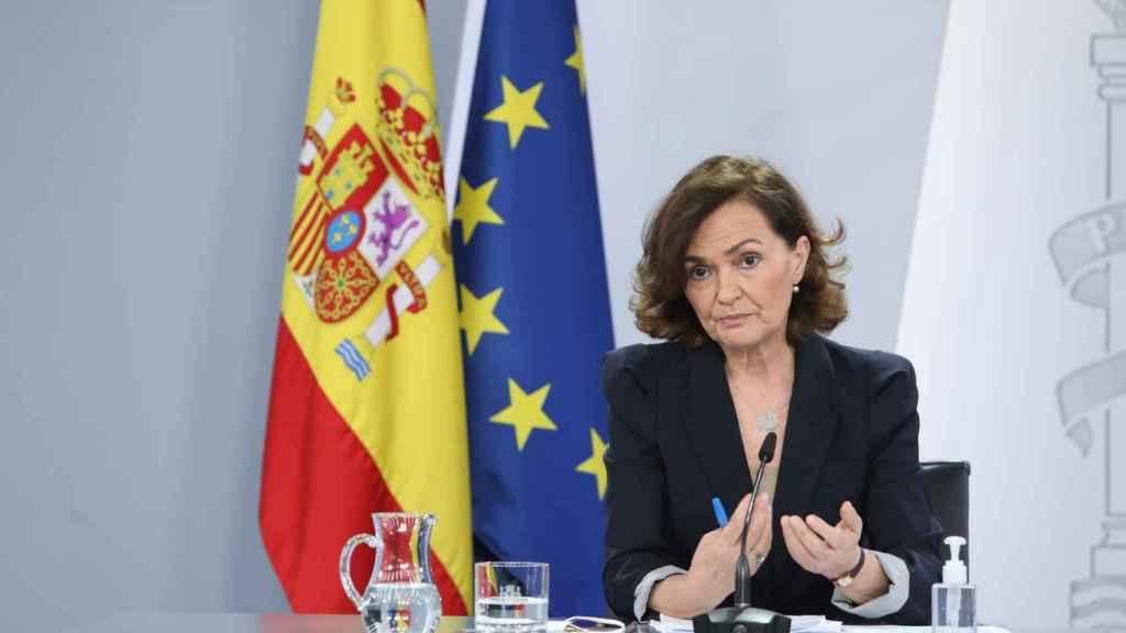 Carmen Calvo, vicepresidenta primera del Gobierno, en Moncloa.