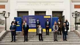 Agentes sociales y la cúpula del Ministerio de Inclusión, Seguridad Social y Migraciones.