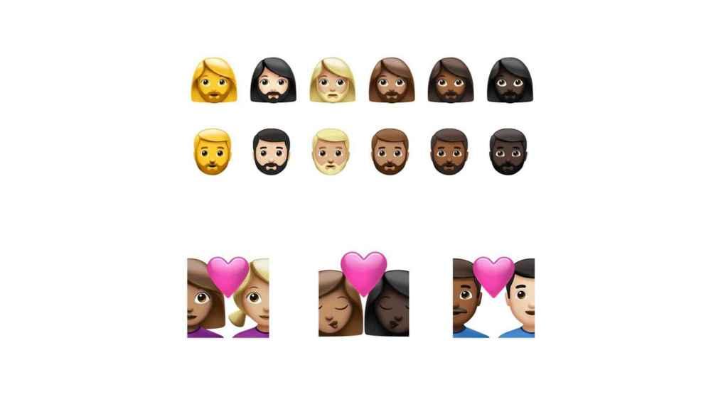 Nuevas parejas inclusivas con tonos de piel distintos.