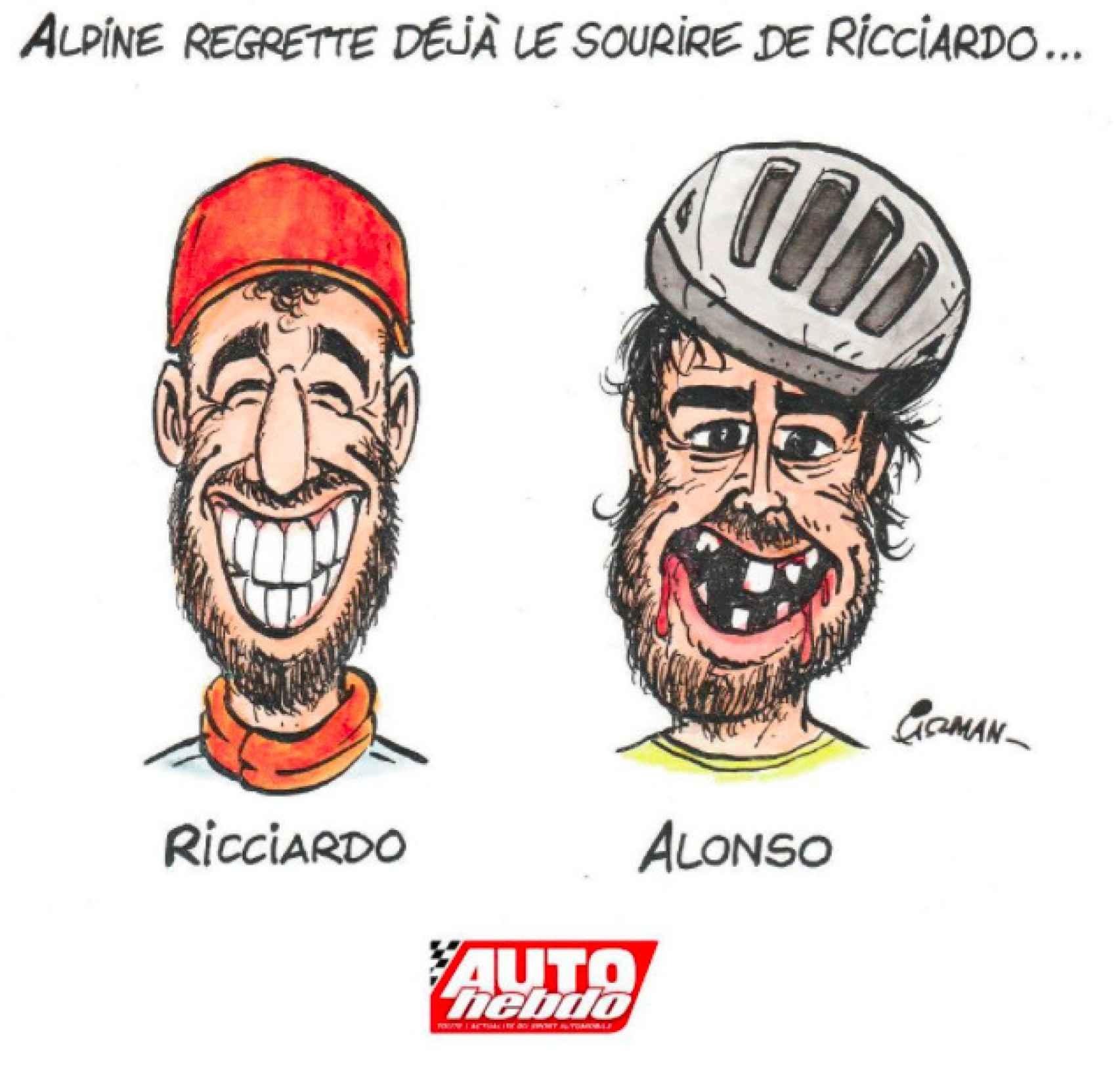 La caricatura francesa burlándose de Fernando Alonso