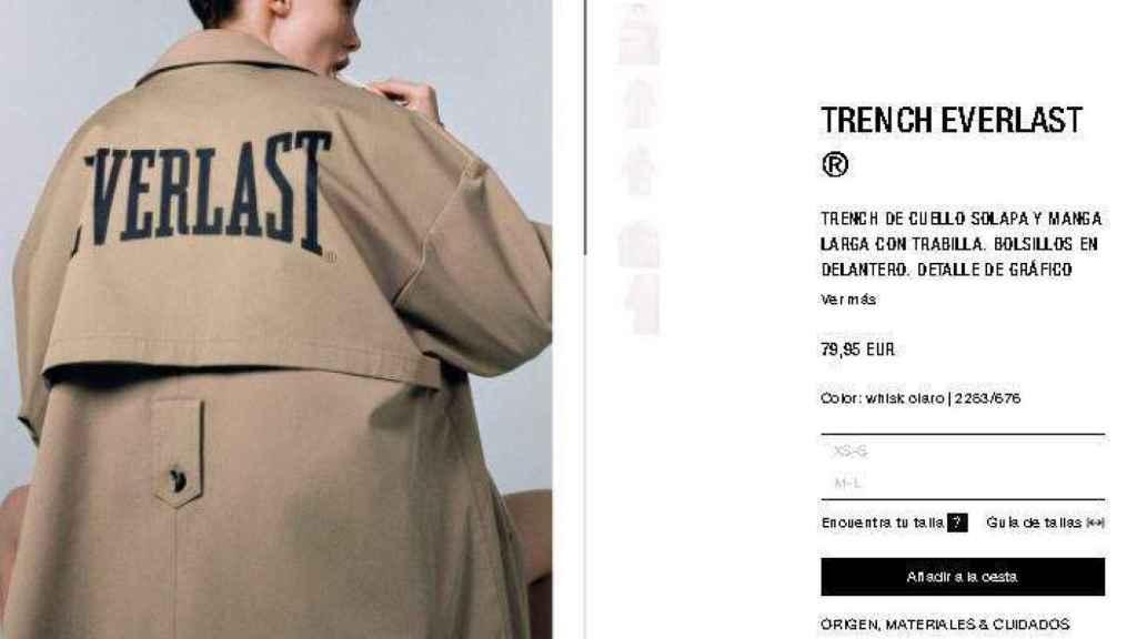 Captura de la web de Zara en el momento de la compra de la famosa gabardina.