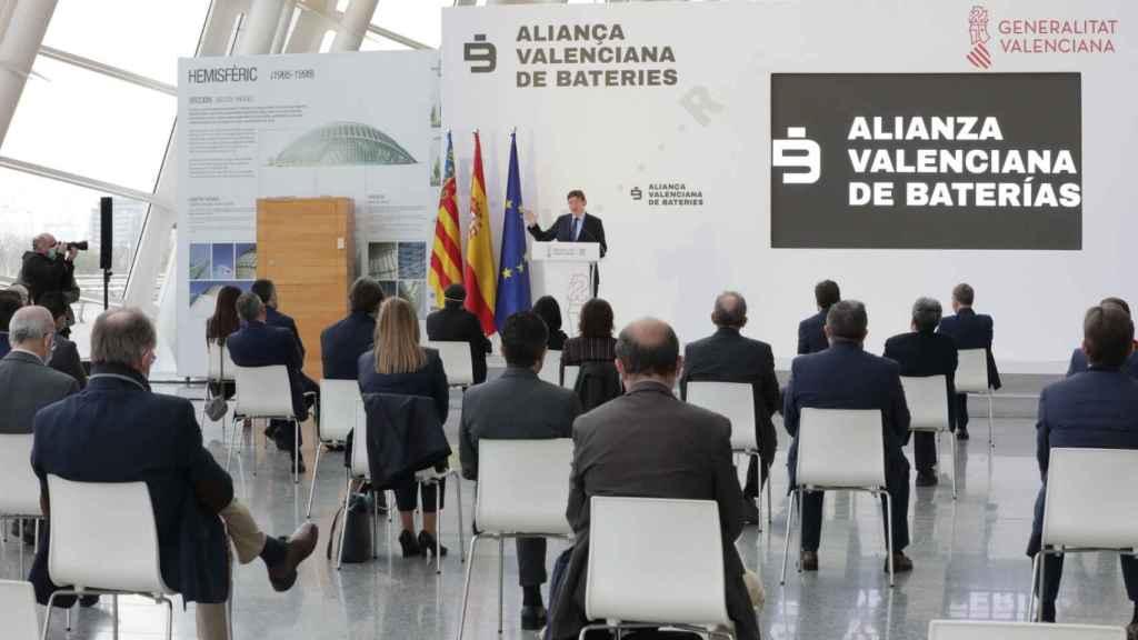 Ximo Puig, durante su intervención en la presentación del proyecto Element Valencia. EE