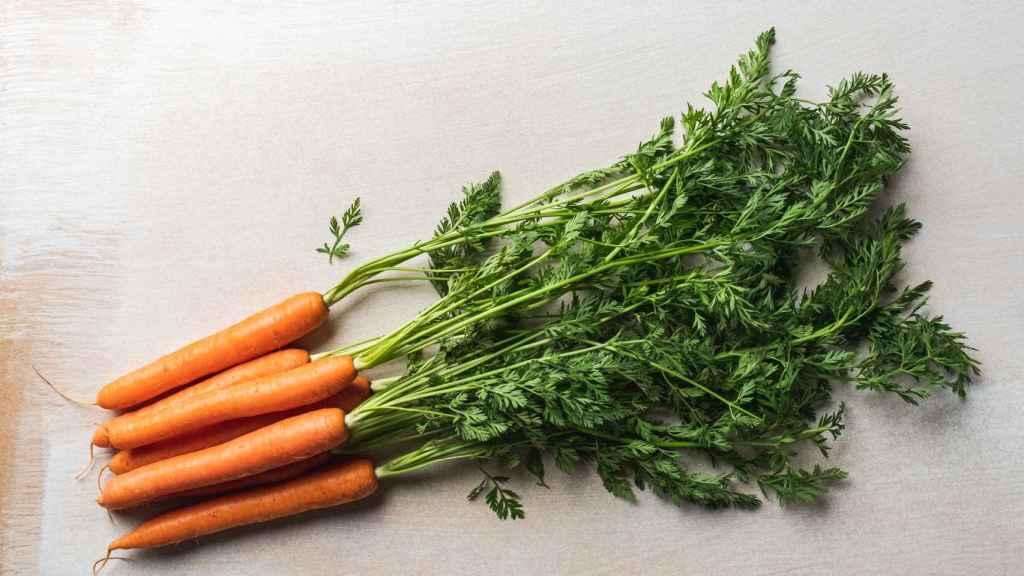 Un manojo de zanahorias.