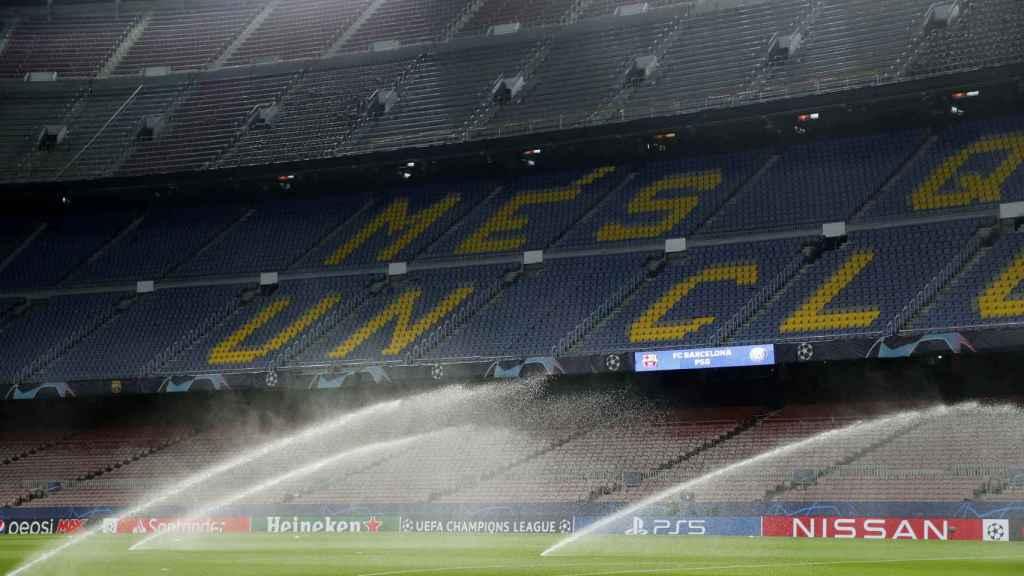 El Camp Nou antes del duelo entre el Barça y el PSG