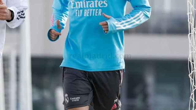 Álvaro Odriozola, durante un entrenamiento del Real Madrid