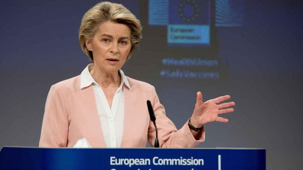 La presidenta Ursula von der Leyen, durante una rueda de prensa