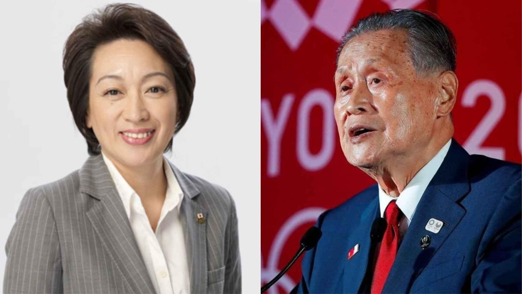 Seiko Hashimoto y Yoshiro Mori.