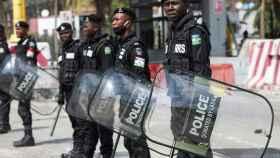Despliegue de las  fuerzas de seguridad de Nigeria en Lagos el pasado 13 de febrero.