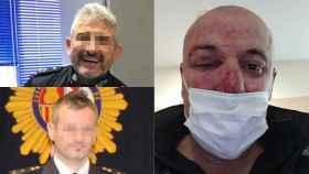 Los policías nacionales de Linares encarcelados y la víctima.