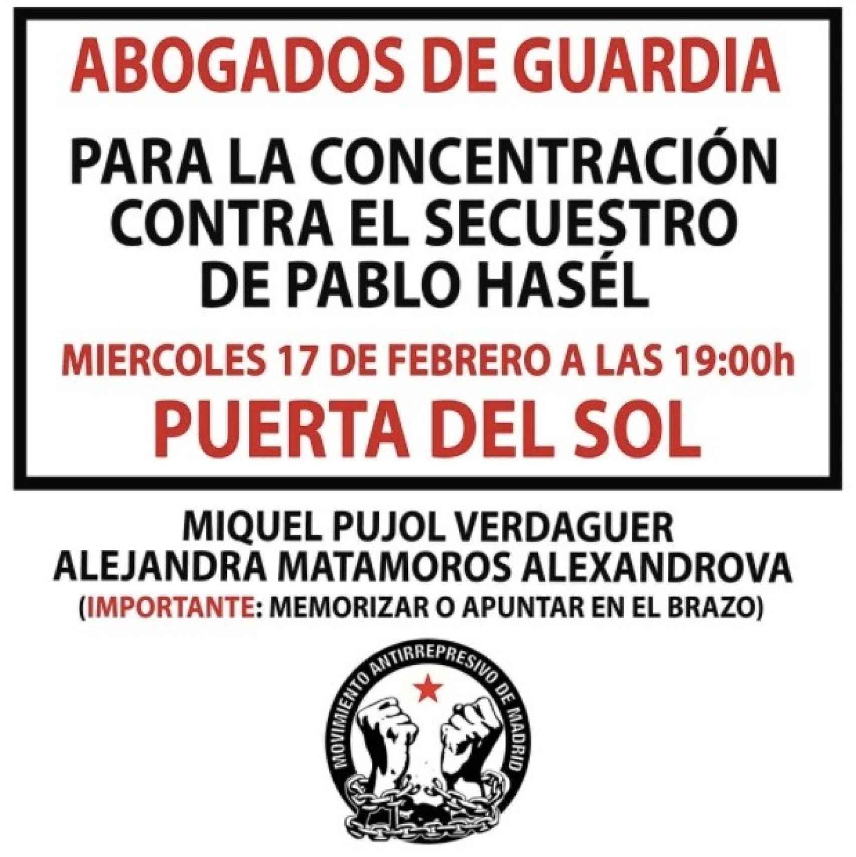 Cartel difundido por el Movimiento Antirrepresivo de Madrid en las protestas de Hasél.