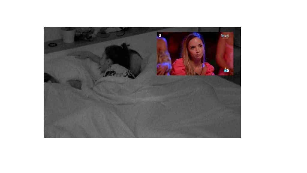 Lola en la cama con Carlos en montaje de BLUPER junto a Lucía.