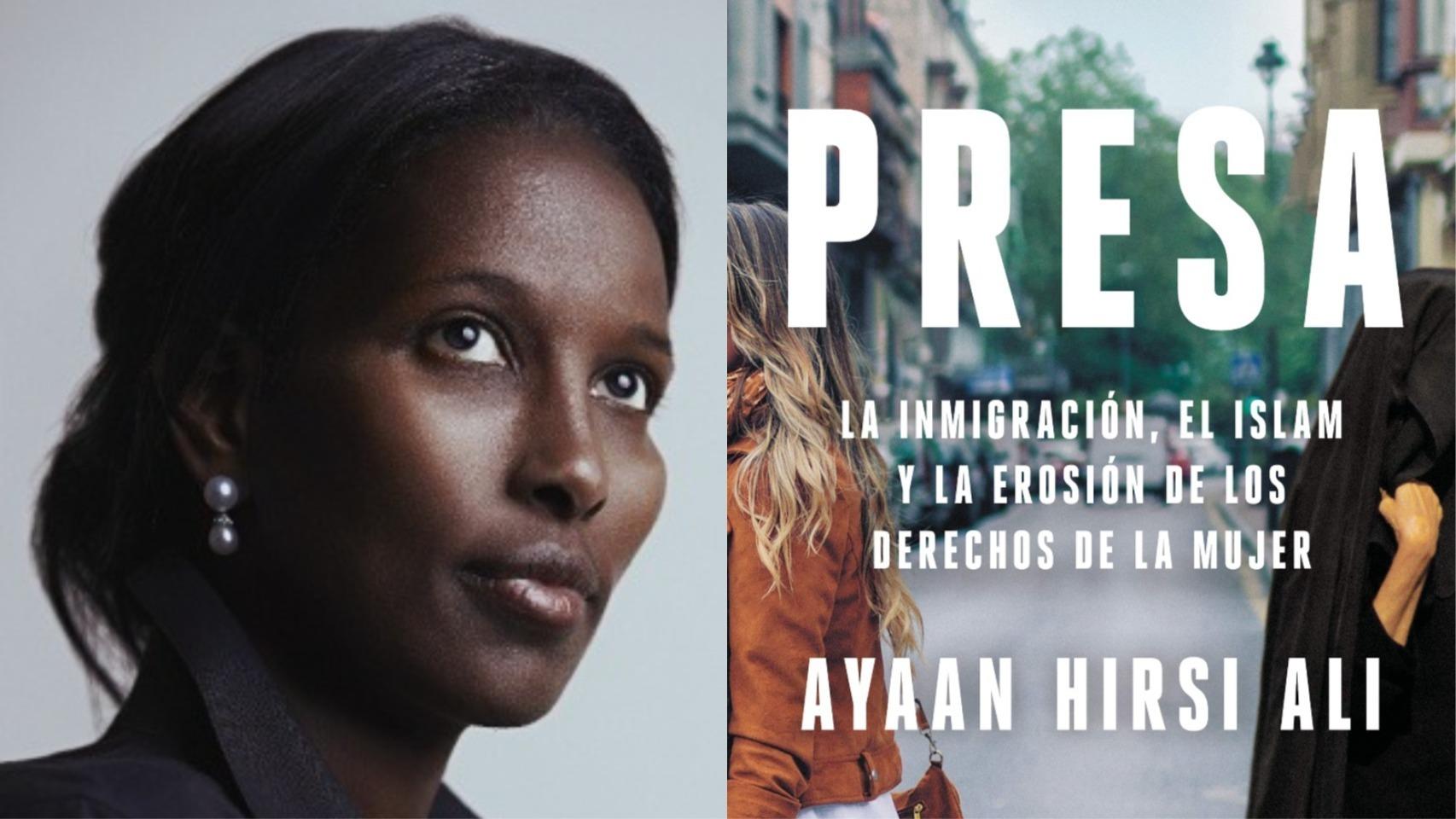 Hirsi Ali y la portada de su nuevo libro.