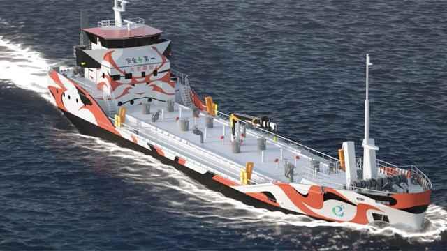 El barco eléctrico de Asahi Tanker.