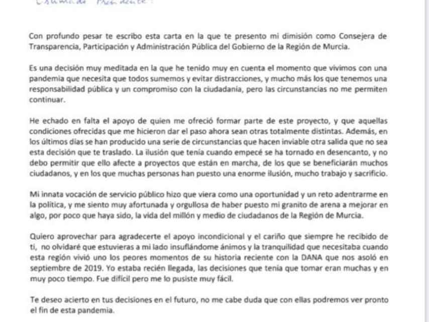 Carta de dimisión de la consejera Beatriz Ballesteros.