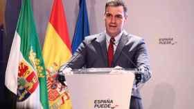 El presidente del Gobierno, Pedro Sánchez, este viernes en un acto en Mérida.