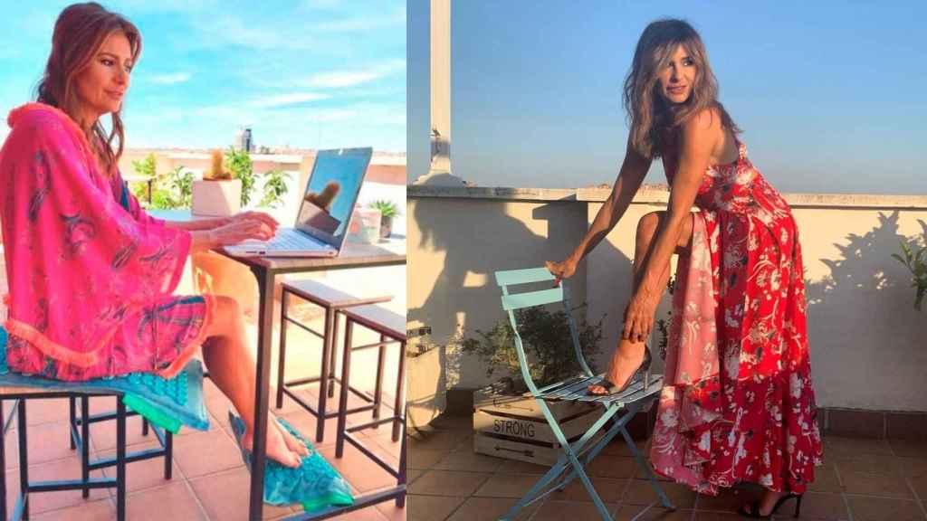 Gema en dos imágenes en la terraza de su casa.