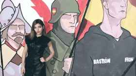 Isabel Medina, frente a un mural de Bastión Frontal.