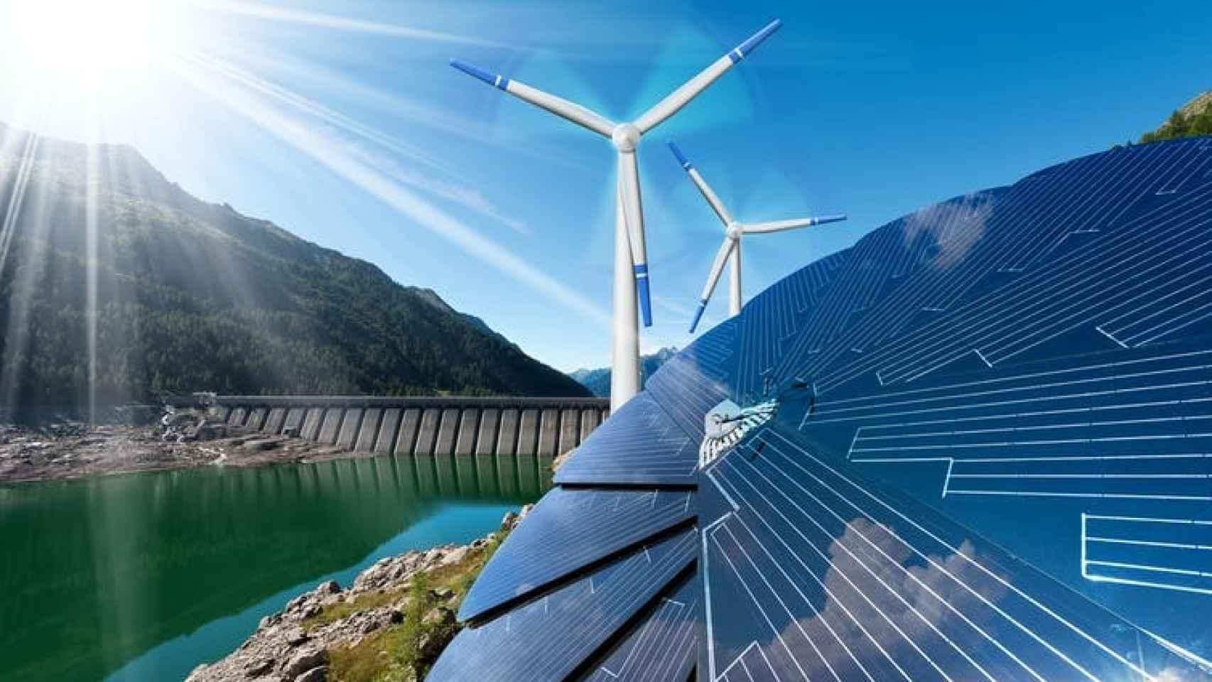 Un montaje sobre distintas fuentes de energía renovables.