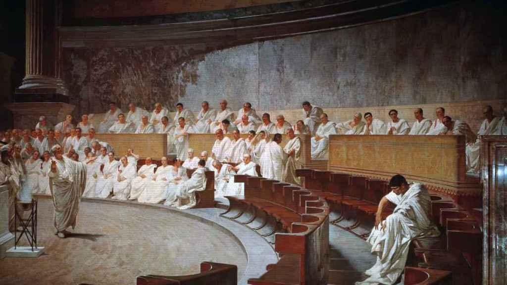 Cicerón denunciando a Catilina, 1880.